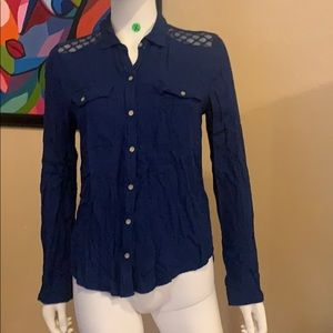 Blue ABERCROMBIE AND FITCH button down blouse SM